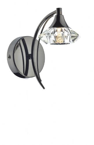 Luther Single Wall Bracket complete with Crystal Glass Black Chrome (Double Insulated) BXLUT0767-17